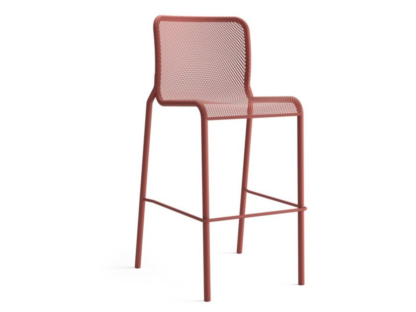 High painted metal stool with back MOMO NET 3 by COLOS