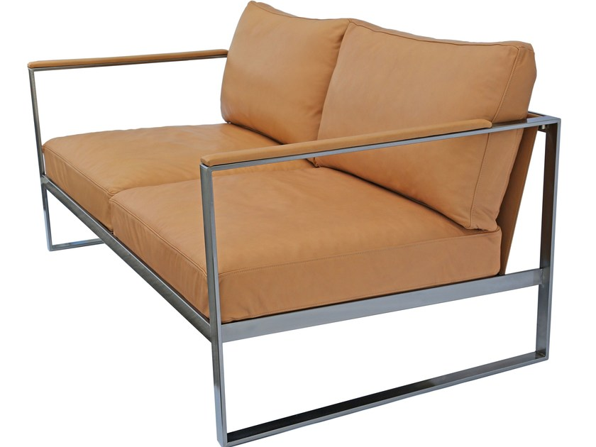 Sled Base 2 Seater Leather Sofa Monaco By Röshults