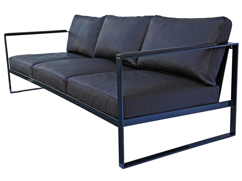 Sled base 3 seater leather sofa MONACO   3 seater sofa by Röshults