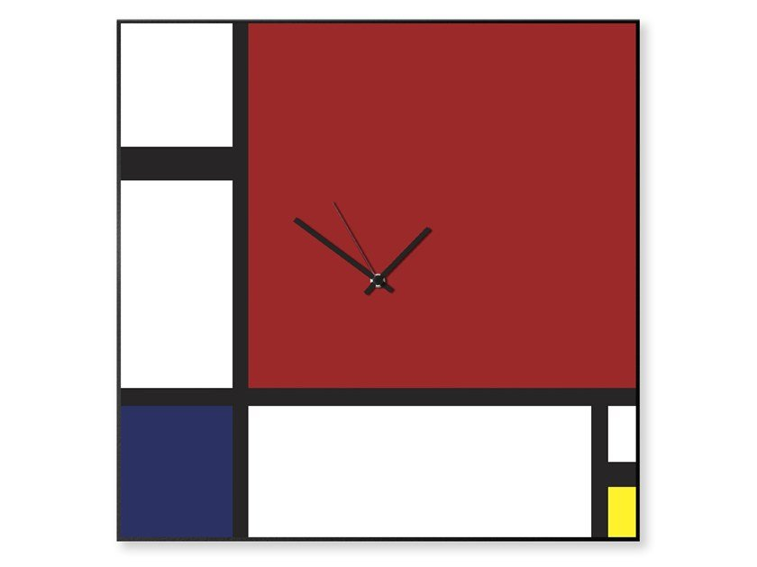 Plate clock / dry erase board MONDRIAN by Designobject.it