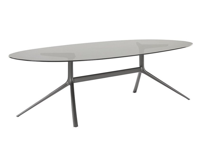 Oval glass table MONDRIAN | Glass table by Poliform