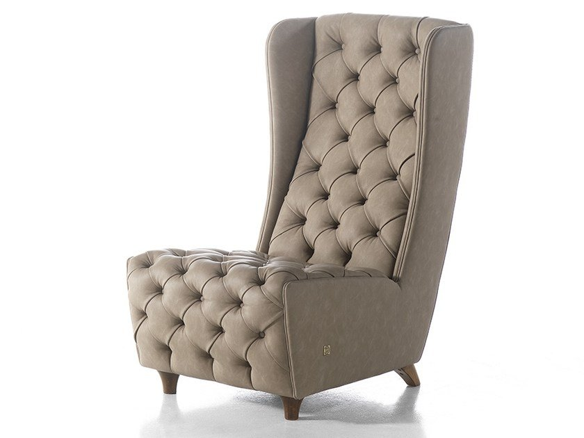 Tufted high-back leather armchair MONNALISA | Armchair by Gold Confort