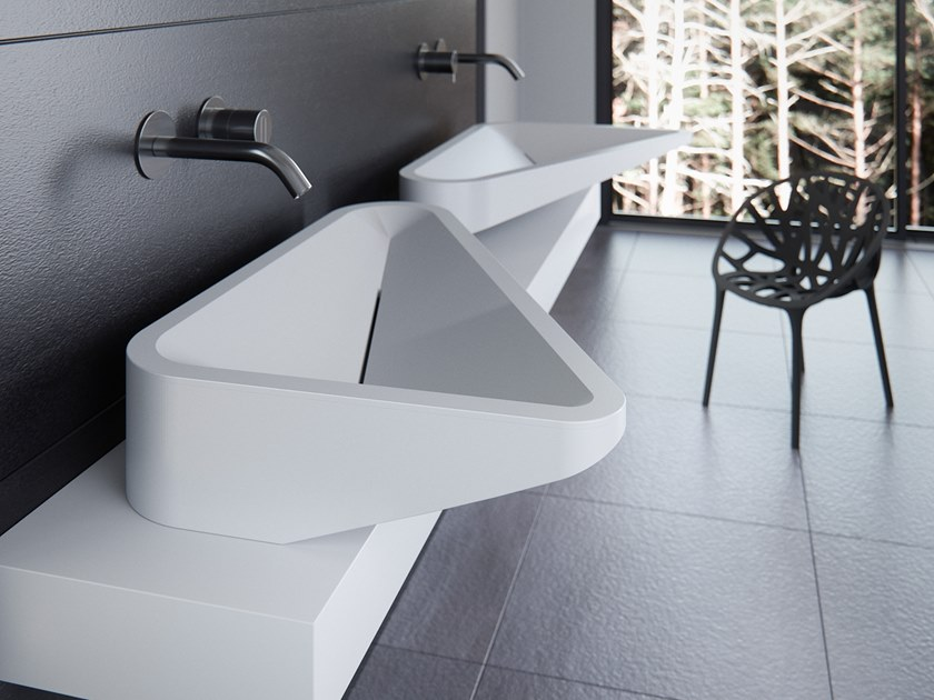 Countertop single Meridian Solid Surface® washbasin MONOLIT-01 by Le Projet