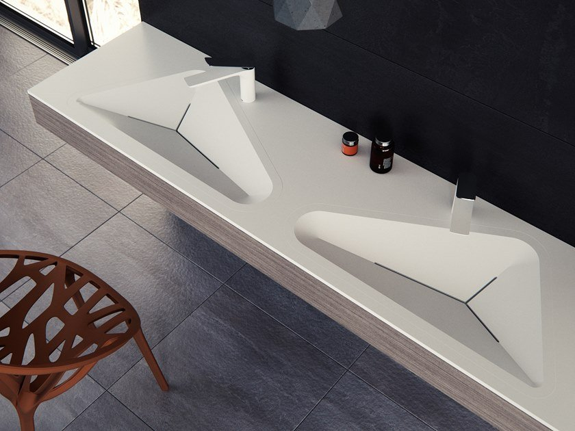 Double Meridian Solid Surface® washbasin with integrated countertop MONOLIT-02 by Le Projet