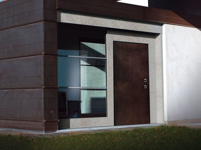 Safety door with concealed hinges MONOLITE - 15.1017 MNT7004 by Bauxt