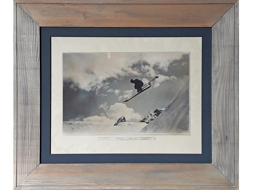 Legno Bianco E Nero : Foto in bianco e nero con cornice in legno montagna m
