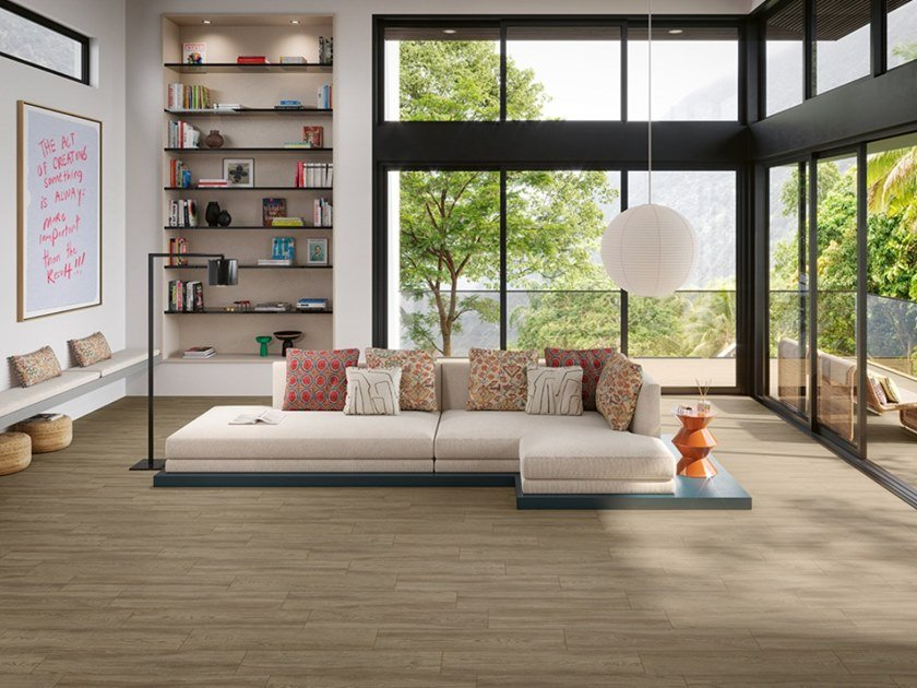Full-body porcelain stoneware wall/floor tiles with wood effect MONTANA by Revigrés