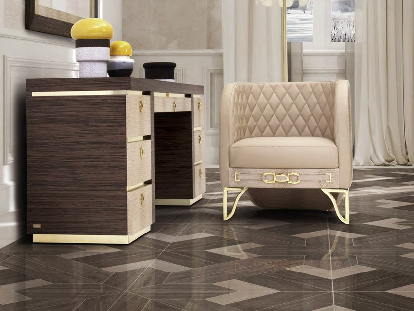 Upholstered leather easy chair with armrests MILLA | Easy chair by Formitalia