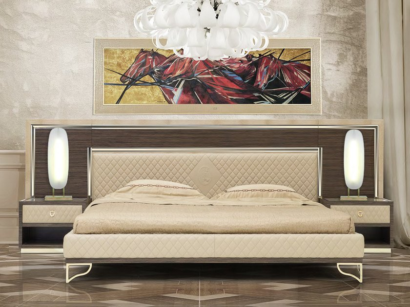 Leather double bed with upholstered headboard MONTGOMERY   Bed by Formitalia