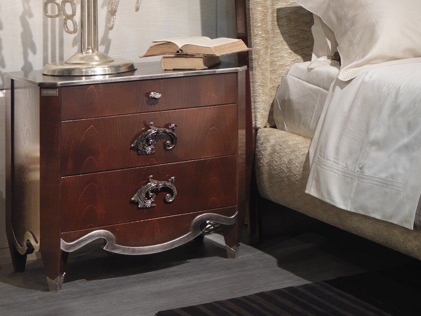 Wooden bedside table with drawers MONTMARTRE | Bedside table by Bizzotto