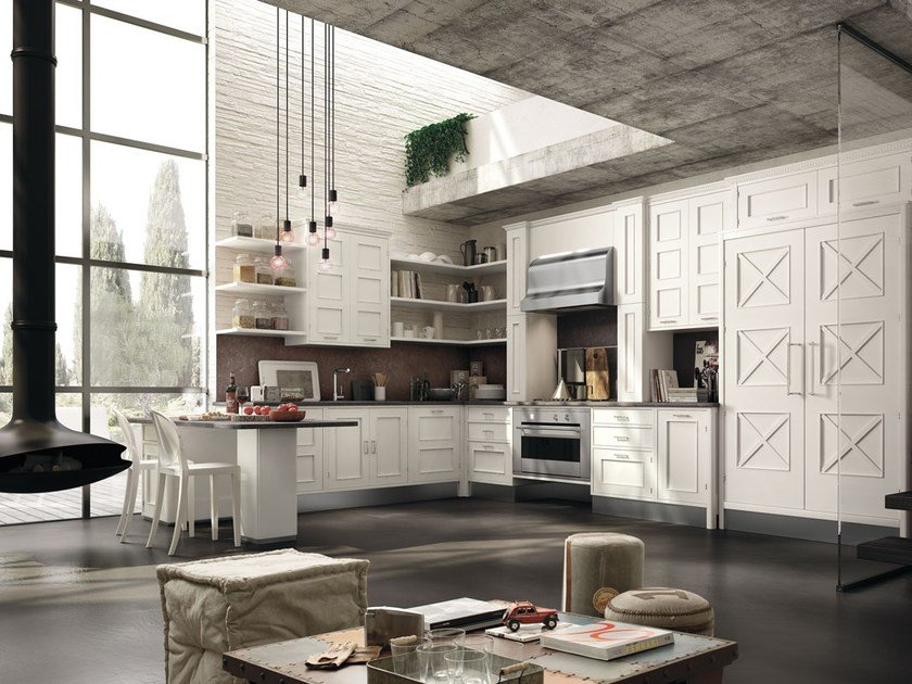 Fitted wood kitchen MONTSERRAT - COMPOSITION 05 by Marchi Cucine