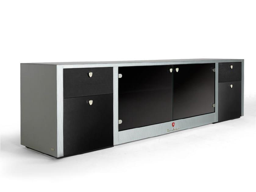 Low carbon leather TV cabinet MONZA by Tonino Lamborghini Casa