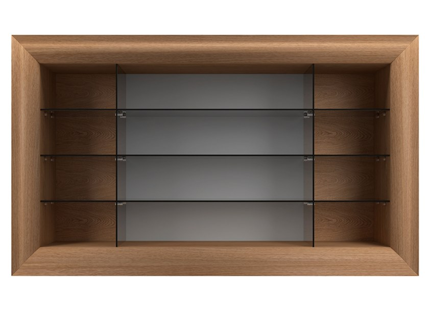 Wall-mounted wood and glass bookcase MOOD by EXENZA