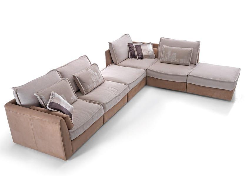 Corner modular Nabuk and fabric sofa MOOD | Corner sofa by Borzalino