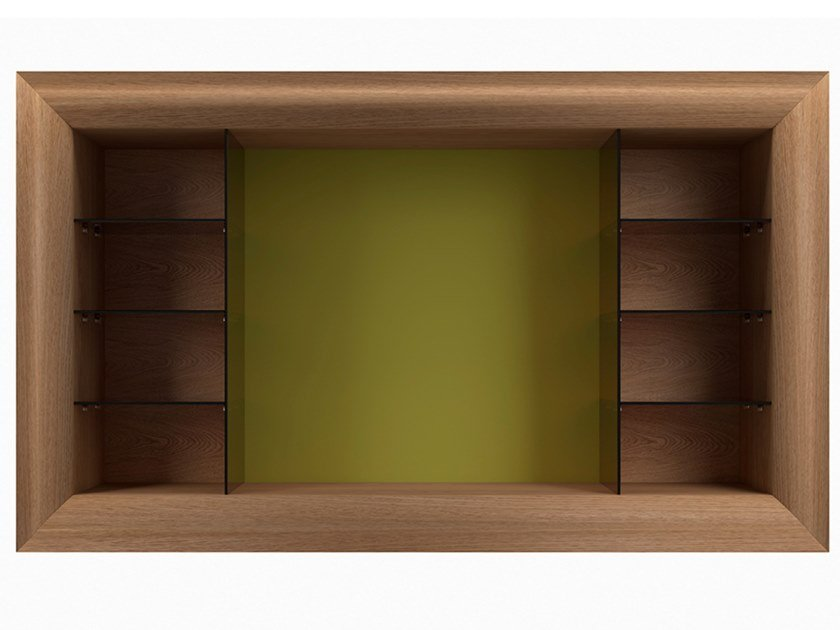 Wood and glass bookcase with TV stand MOOD TV by EXENZA