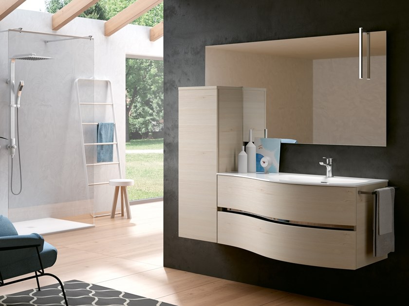 Wall-mounted vanity unit with mirror MOON 01 by BMT