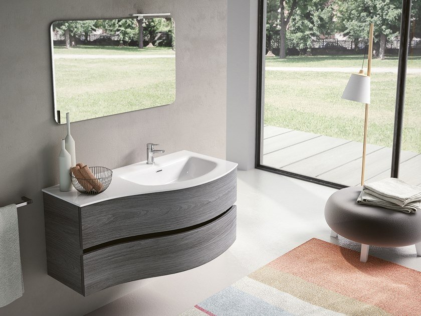 Wall-mounted vanity unit with mirror MOON 03 by BMT