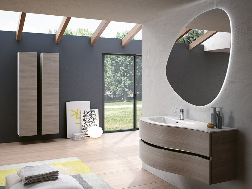 Wall-mounted vanity unit with cabinets MOON 04 by BMT