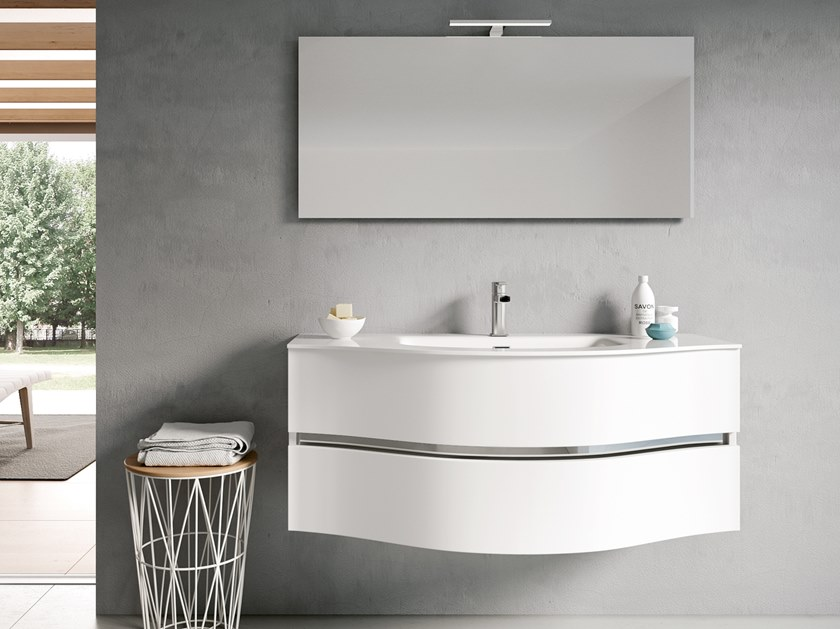 Wall-mounted vanity unit with mirror MOON 09 by BMT