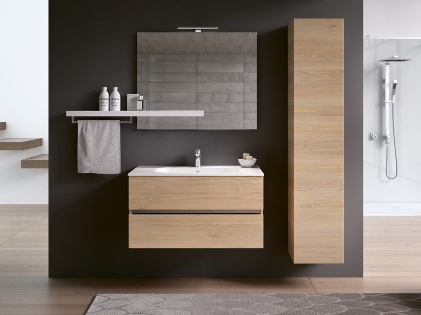 Wall-mounted vanity unit with cabinets MOON 11 by BMT