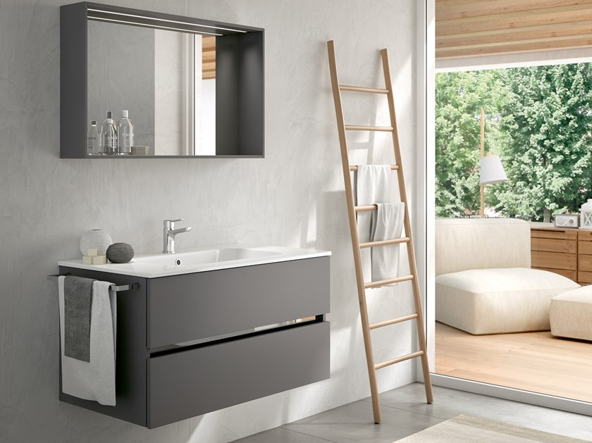Wall-mounted vanity unit with mirror MOON 12 by BMT