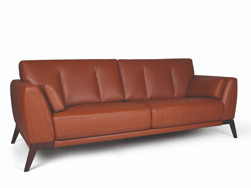 2 seater leather sofa MOON DOUBLE by Fenabel