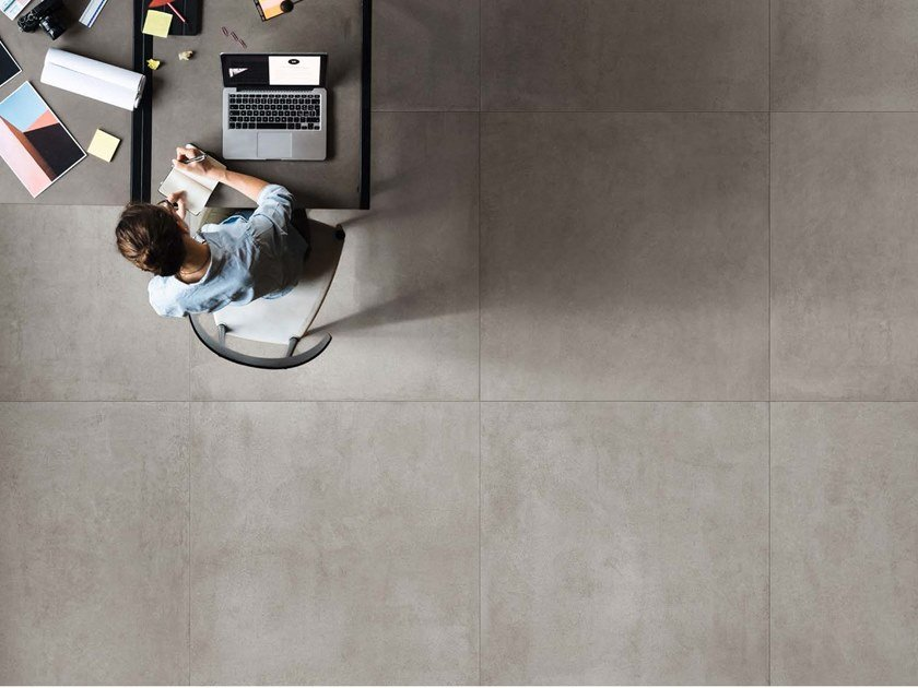 Porcelain stoneware wall/floor tiles with concrete effect MOON G by Ceramica d'Imola