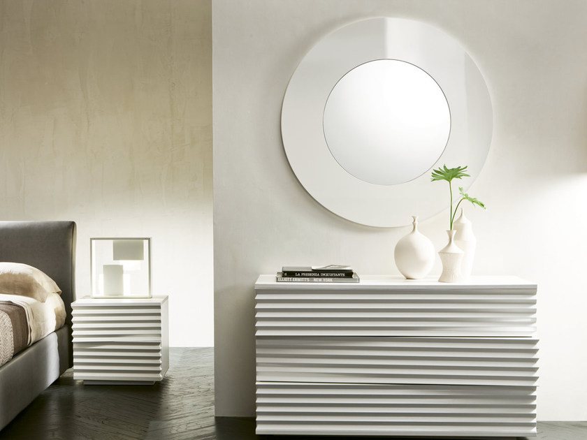Wall-mounted framed mirror MOON by Pacini & Cappellini
