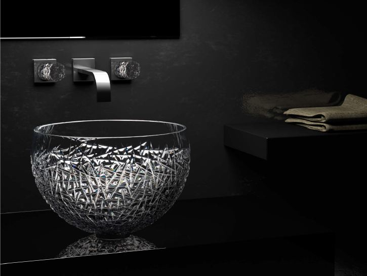 Countertop oval single crystal washbasin MOON OVER ICE by Glass Design