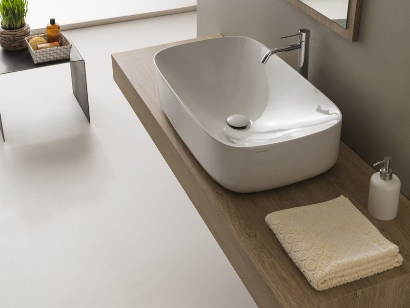 Countertop rectangular ceramic washbasin MOON | Rectangular washbasin by Scarabeo Ceramiche