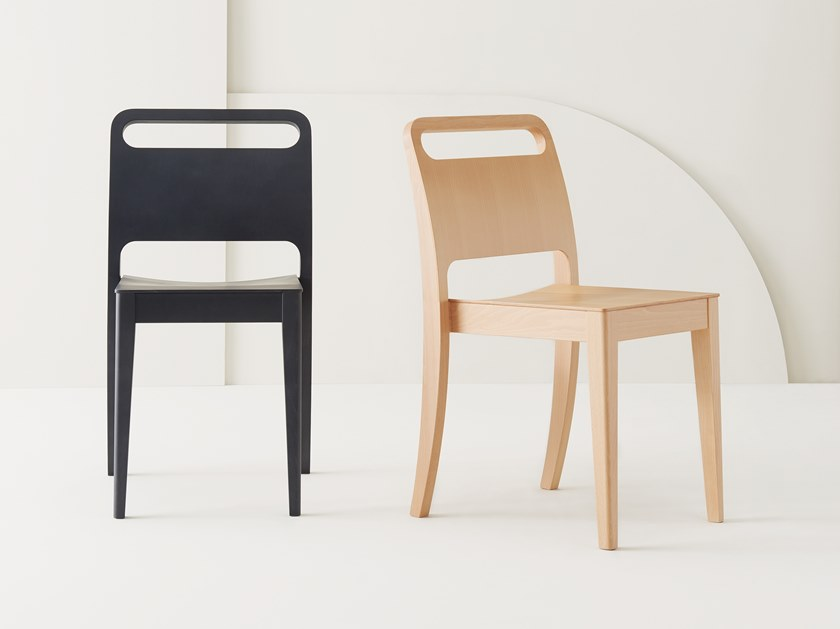 Stackable multi-layer wood chair MOON by Segis