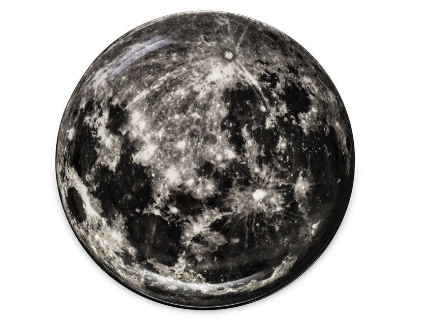 Round porcelain tray MOON by Seletti