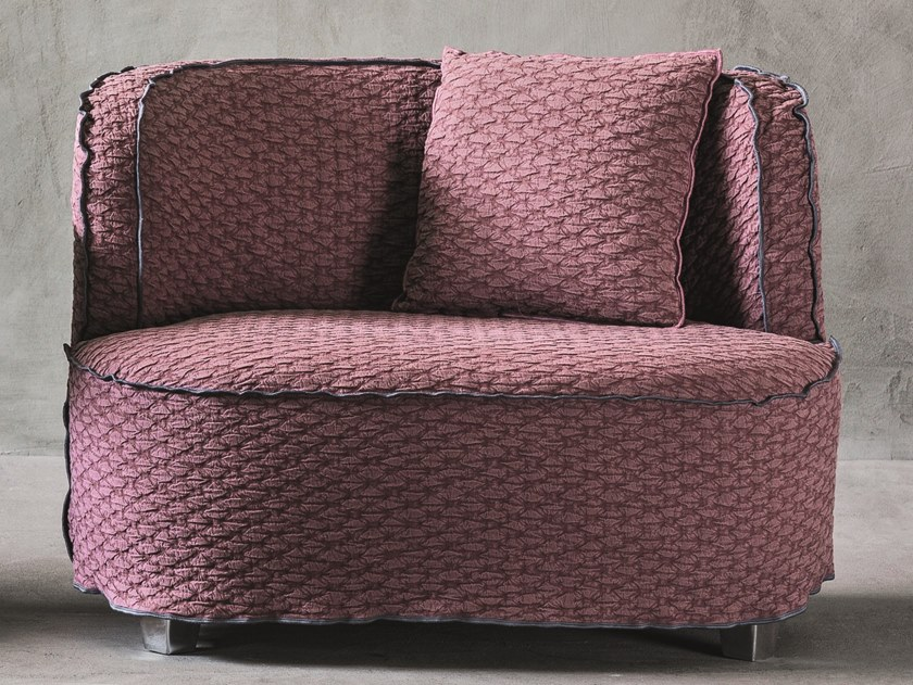 Fabric armchair with removable cover with armrests MORE 24 by Gervasoni
