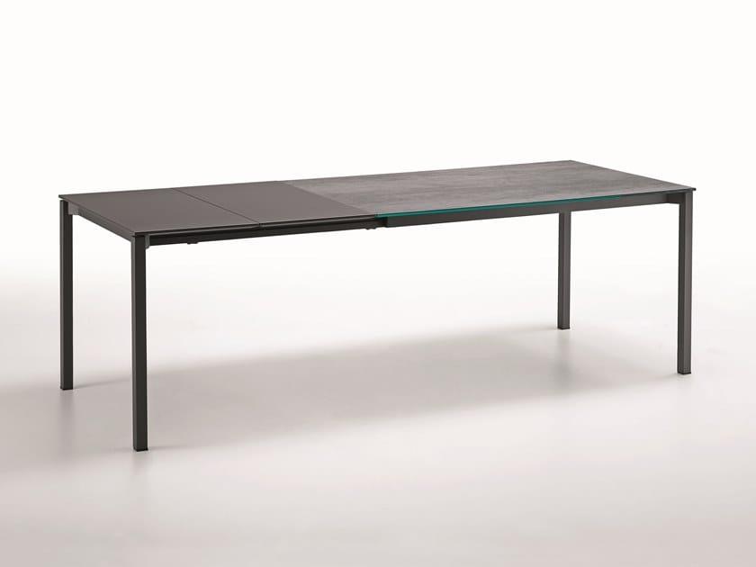 Extending rectangular glass ceramic table MORE by Midj