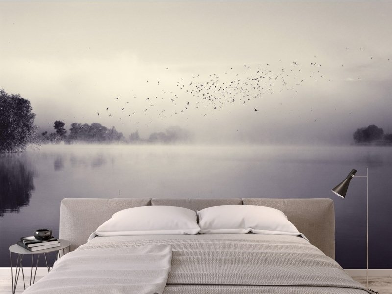 Panoramic landscape JET TEX wallpaper MORNING MINST by ACTE-DECO