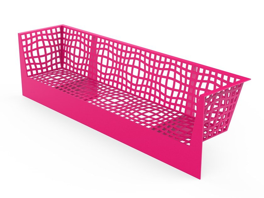 Galvanized steel Bench with armrests with back MORPHSCAPE LOUNGE by LAB23