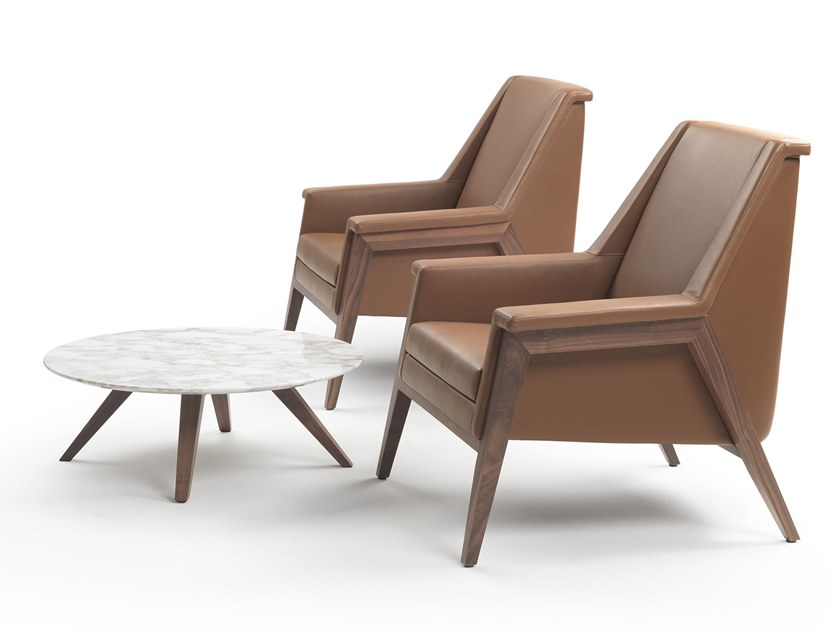 Leather armchair with armrests MORRIS | Leather armchair by Marelli