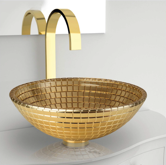 Countertop oval single crystal washbasin MOSAIC ANNIVERSARY by Glass Design