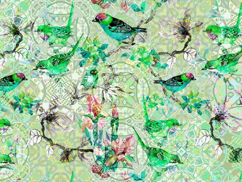 Digital printing wallpaper with floral pattern MOSAIC BIRDS by Architects Paper
