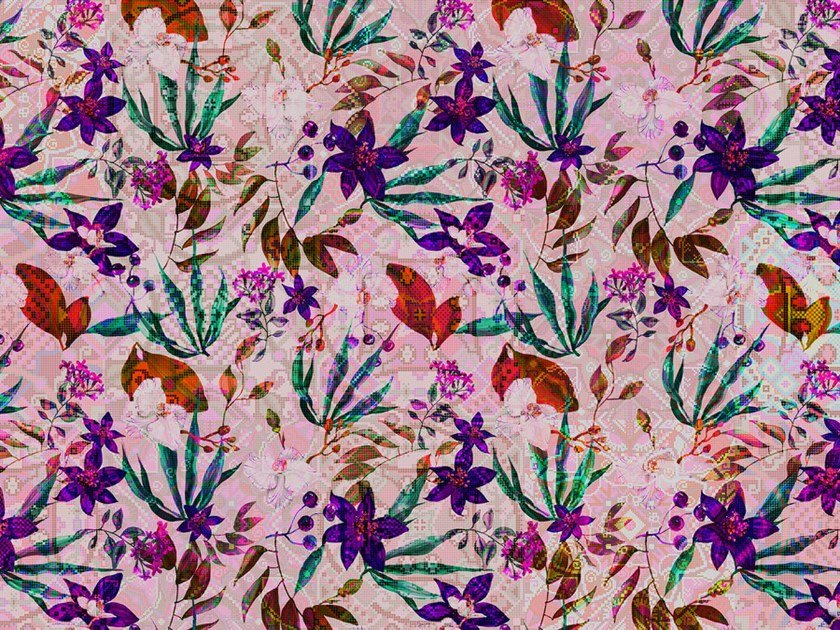 Digital printing wallpaper with floral pattern MOSAIC BLOSSOM by Architects Paper
