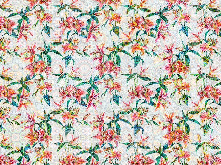 Digital printing wallpaper with floral pattern MOSAIC LILIES by Architects Paper