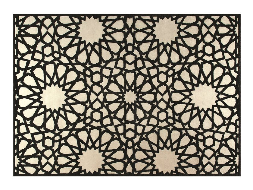 Handmade rectangular rug with geometric shapes MOUCHARABIEH by ROCHE BOBOIS