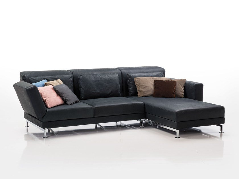 Leather sofa with chaise longue MOULE | Leather sofa by brühl