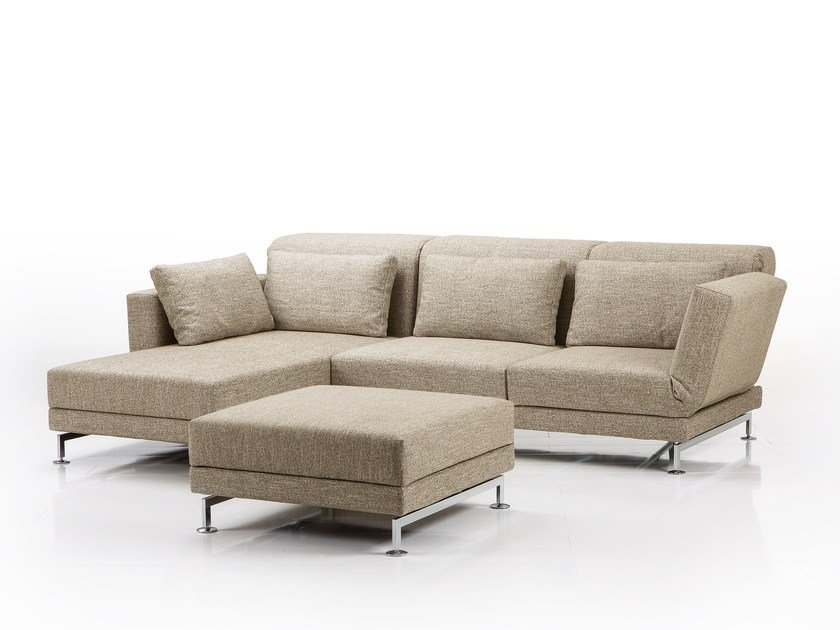 Fabric sofa with chaise longue MOULE | Sofa with chaise longue by brühl