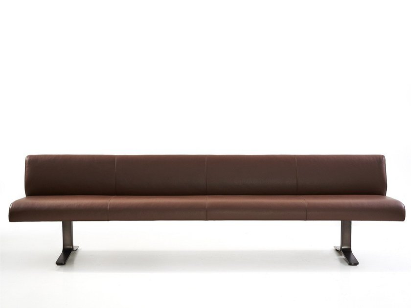Leather bench with back MOUNT | Bench with back by more