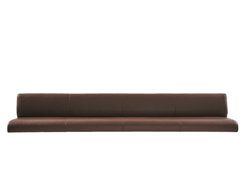 Wall-hung leather bench with back MOUNT | Wall-Mounted bench seating by more