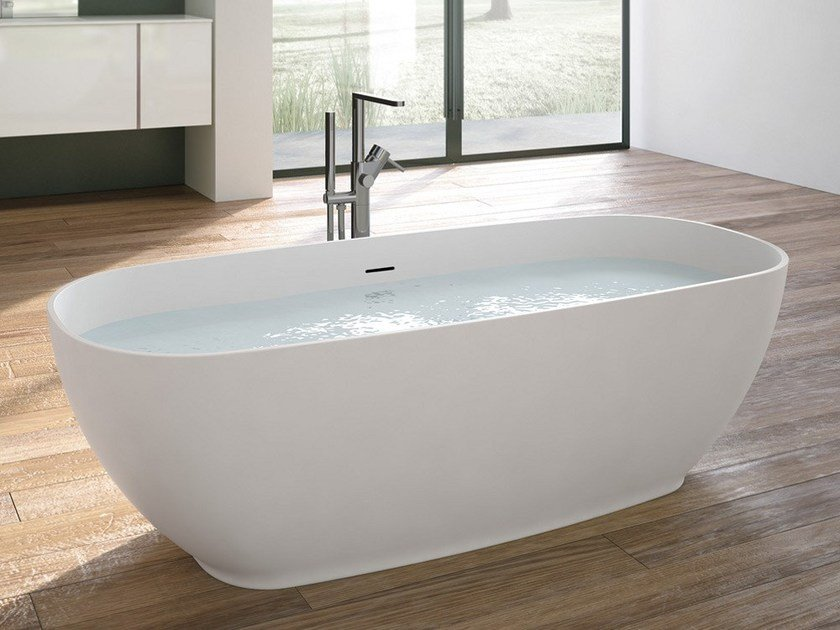 Freestanding oval Tecnoril® bathtub MOVE | Oval bathtub by Gruppo Geromin