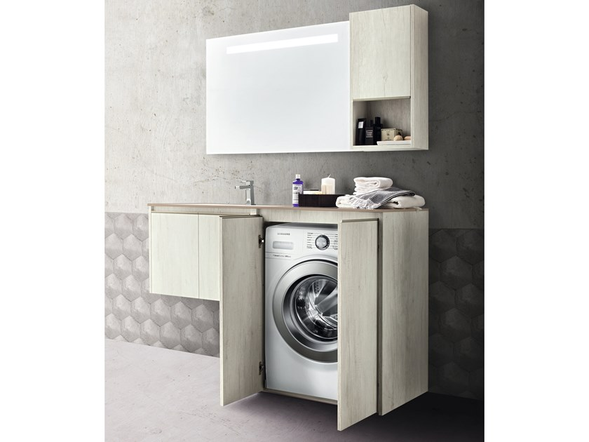 Sectional vanity unit with doors MOVIDA 66 by Cerasa