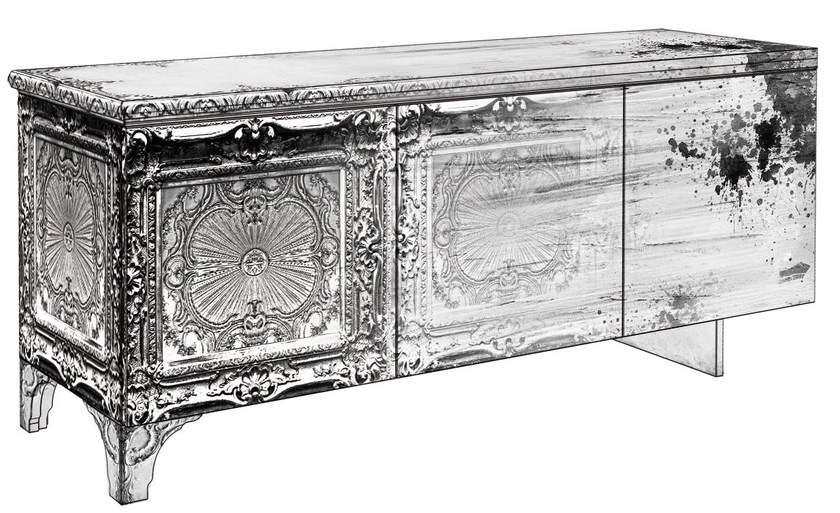 Decapé glass-fibre sideboard with doors MS-01 by MOMENTI