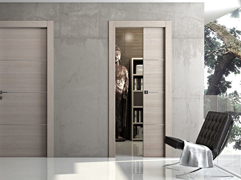 Wooden pocket sliding door MS | Wooden door by Pail Serramenti